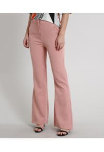 Calça Feminina Flare Com Bolsos Rosê