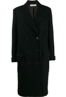 Marni Textured Double Breasted Coat - Preto