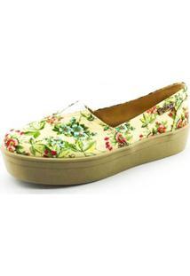 Tênis Slip On Flatform Quality Shoes Flatform Floral Feminino - Feminino-Amarelo