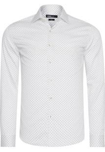 Camisa Masculina Tricoline Fio Tinto Estampado - Branco