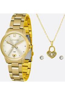 Kit Relógio Feminino Strass Lince Lrg4558L Kv14C2Kx