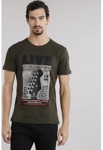"""Camiseta Masculina """"Live Rock Club"""" Manga Curta Decote Careca Em Algodão + Sustentável Verde Militar"""