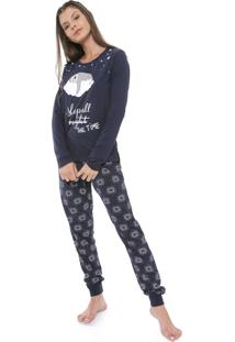 Pijama Laibel Estampado Azul-Marinho