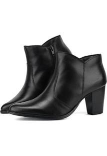 Ankle Boot Couro Salto Grosso Sapatofran Feminina - Feminino-Preto
