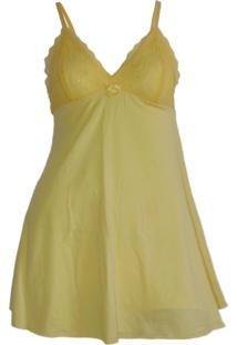 Camisola Doce Paixão Liganete E Renda Amarelo