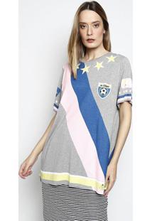 "Camiseta ""Técnico 01""- Cinza & Rosa- My Favorite Thimy Favorite Things"