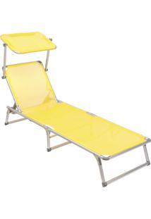 Espreguiçadeira Dobrável Bel Fix Alumínio C/Protetor Bel Lazer Amarelo