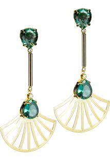 Brinco Kumbayá Haste Longa E Leque Arabesco Cristal Oval Semijoia Banho De Ouro 18K Cristal Verde Esmeralda