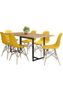Mesa De Jantar Retangular 6 Cadeiras Eames Indy F02 Nature/Preto/Amare