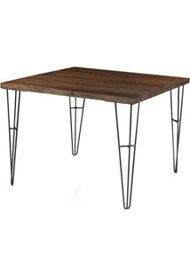 Mesa Jantar Bronx Quadrada Rustic Brown Base Grafite 1,00 Mt (Larg) - 43387 - Sun House
