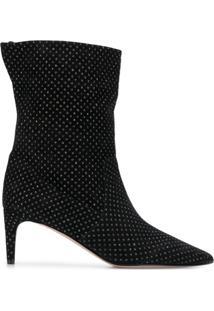 Redvalentino Ankle Boot Com Aplicações - Preto