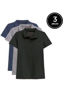 Kit De 3 Camisas Polo De Várias Cores Feminino - Feminino-Preto+Cinza