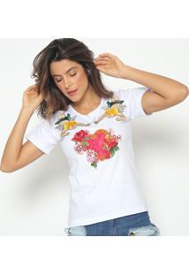 Blusa Com Bordado Anjos- Branca & Vermelha- Fashion Fashion 500