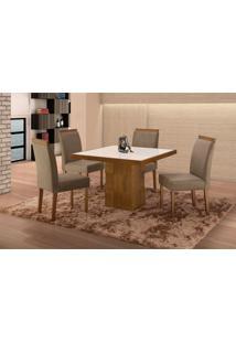 Conjunto De Mesa De Jantar Com 4 Cadeiras E Tampo De Madeira Maciça Arezo Ii Suede Castanho E Cinza