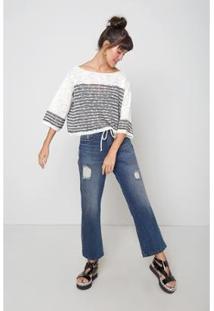 Blusa Oh, Boy! Tricot Textura Listras Listrado Feminina - Feminino-Branco+Marinho