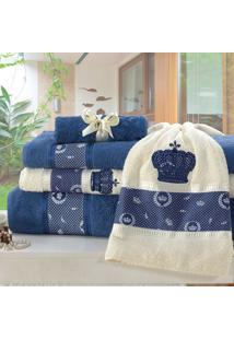 Jogo De Banho Nobre Azul 370 G/M² 100% Algodão 05 Peças Dourados Enxovais