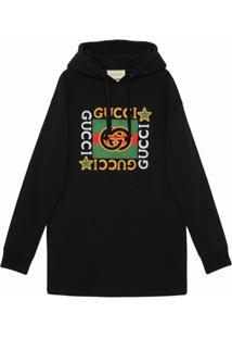 Gucci Vestido Com Capuz E Logo - Preto