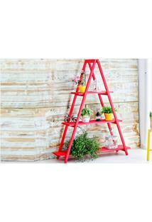 Estante Escada Aquiles Stain Vermelho - Mão E Formão