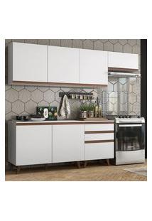 Cozinha Completa Madesa Reims 250002 Com Armário E Balcão Branco Cor:Branco