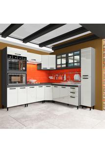 Cozinha Completa Marília 16 Pt 2 Gv Cinza E Off White