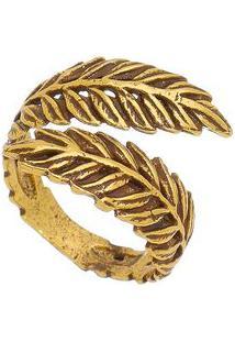 Anel Banhado À Ouro Folhagem- Dourado- 3X6Cmvincenzo Di Fiori