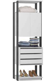Closet 2 Portas 3 Gavetas 1006 Branco/Espresso - Bentec