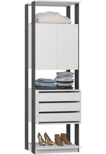 Guarda-Roupa Closet 2 Portas 3 Gavetas 70 Cm Branco/Espresso - Bentec