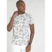 cfbc322241 Camiseta Masculina Slim Fit Estampada Floral Manga Curta Gola Careca Cinza  Mescla Claro