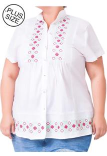 Blusa Bata Plus Size - Confidencial Extra Bordada Branco