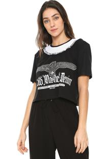 Camiseta Cropped Lança Perfume Estampada Preta/Branca