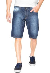 Bermuda Jeans Polo Wear Reta Estonada Azul-Marinho