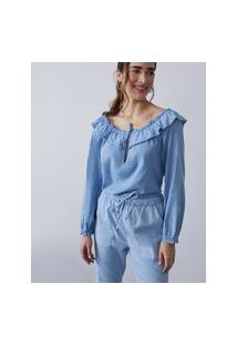 Amaro Feminino Blusa Jeans Com Amarração E Babados, Azul Claro