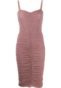 Dolce & Gabbana Vestido Drapeado Com Tule - Rosa