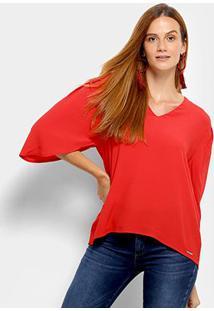 Blusa Colcci Decote V Feminina - Feminino-Vermelho