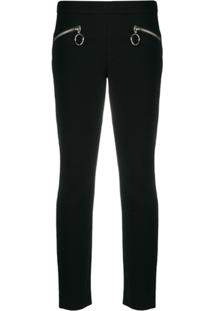 Moschino Zipped Slim-Fit Trousers - Preto