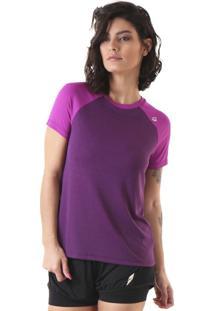 Camiseta Liquido Raglam Uv50 Mescla - Roxo P