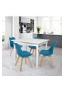Conjunto Mesa De Jantar Robust 110X90 Branca Com 4 Cadeiras Eames Wood Leda - Turquesa