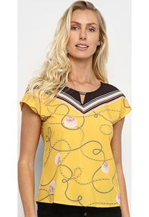 Blusa Cativa Estampada Manga Curta Feminina - Feminino-Amarelo
