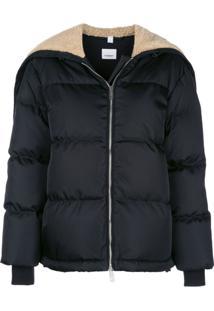 Burberry Extended Neckline Logo Zipped Jacket - Preto