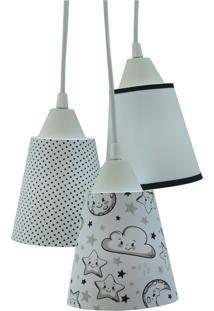 Lustre Pendente Luminária Bebê Nuvens Preto E Branco