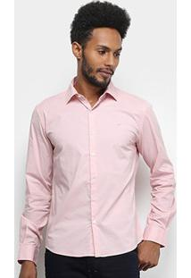Camisa Manga Longa Ellus Tricoline Slim Masculina - Masculino-Rosa