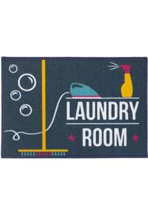 "Tapete ""Laundry Room""- Azul Marinho & Branco- 70X50Ckapazi"