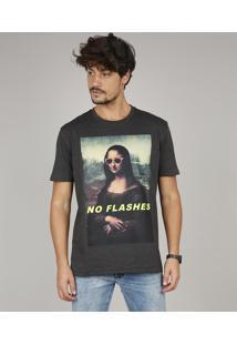 """Camiseta Masculina """"No Flashes"""" Manga Curta Gola Careca Cinza Mescla Escuro"""