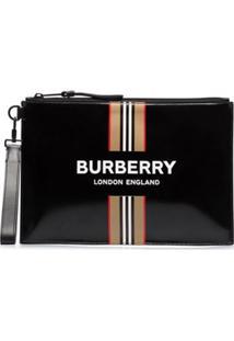 Burberry Carteira Preta De Couro Com Estampa De Logo - Preto