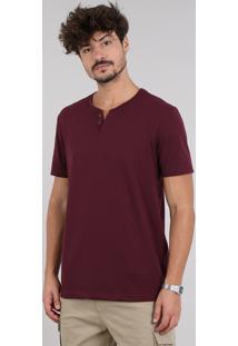 Camiseta Masculina Básica Com Botões Manga Curta Gola Careca Vinho