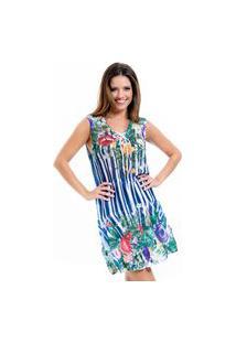 Vestido Evasê 101 Resort Wear Saida Crepe Estampado Listrado Floral