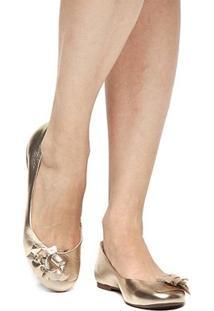 Sapatilha Couro Shoestock Flor Feminina - Feminino