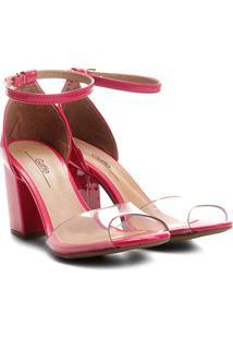 Sandália Griffe Salto Grosso Vinil Feminina - Feminino-Pink