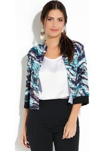 Jaqueta Quintess (Marmorizado Azul) Com Fenda