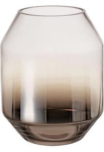 Vaso Degradê- Incolor & Marrom Escuro- 22,5Xø18Cm